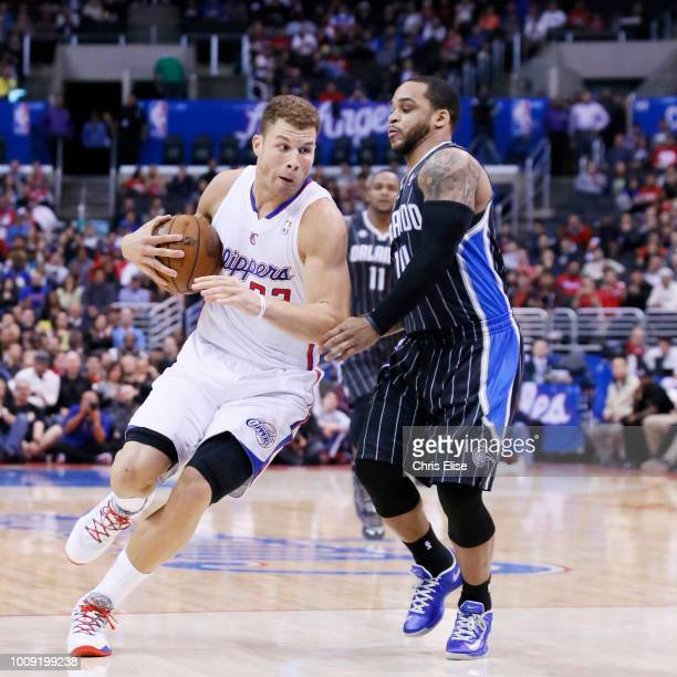 Los Angeles Clippers power forward Blake Griffin drives past Orlando Magic point guard Jameer Nelson during the Los Angeles Clippers 10181 victory...