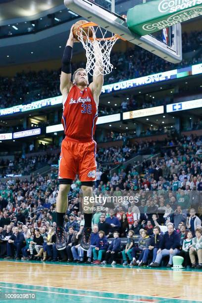 Los Angeles Clippers power forward Blake Griffin dunks the ball during the Boston Celtics 106104 victory over the Los Angeles Clippers at TD Garden...