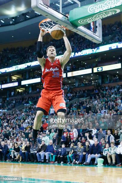 Los Angeles Clippers power forward Blake Griffin dunks the ball during the Boston Celtics 106-104 victory over the Los Angeles Clippers at TD Garden...