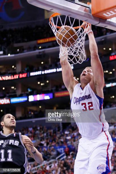 Los Angeles Clippers power forward Blake Griffin dunks the ball during the Los Angeles Clippers 11592 victory over the San Antonio Spurs at the...
