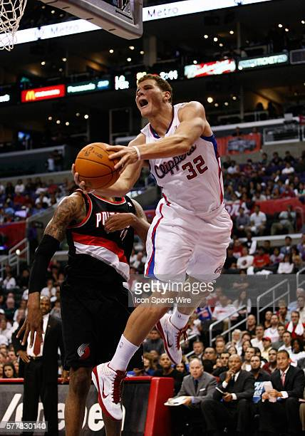 Los Angeles Clippers power forward Blake Griffin goes for a layup at the Staples Center on October 27, 2010 in Los Angeles, CA as the Los Angeles...