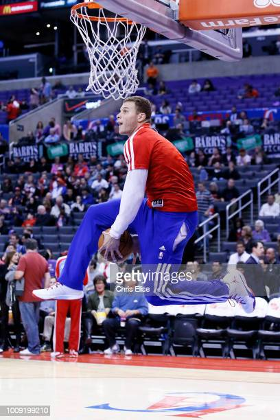 Los Angeles Clippers power forward Blake Griffin goes for the dunk prior to the Los Angeles Clippers 101-81 victory over the Orlando Magic at the...