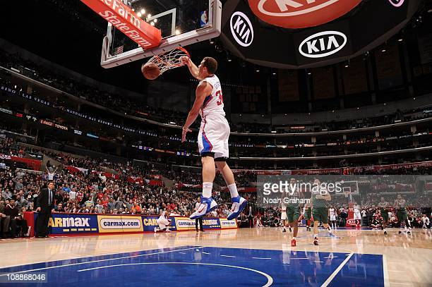 Los Angeles Clippers power forward Blake Griffin goes to the basket during a game against the Milwaukee Bucks at Staples Center on January 31, 2011...