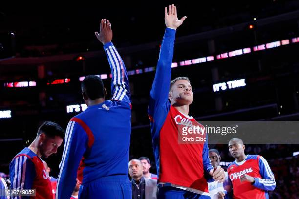 Los Angeles Clippers power forward Blake Griffin is seen during the players introduction prior to the Los Angeles Clippers 121-82 victory over the...