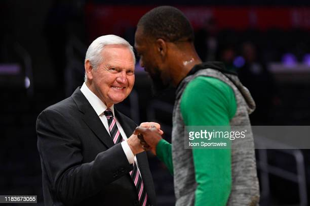 Los Angeles Clippers special consultant Jerry West gives Boston Celtics Guard Kemba Walker a fist pump before a NBA game between the Boston Celtics...