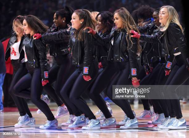 Los Angeles Clippers Spirit dancers perform during a time out in the game against the Denver Nuggets at Staples Center on January 17 2018 in Los...