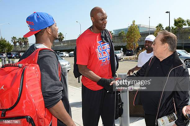 Los Angeles Clippers team owner Donald Sterling greets Lamar Odom as he arrives at Los Angeles International Airport in Los Angeles California on...