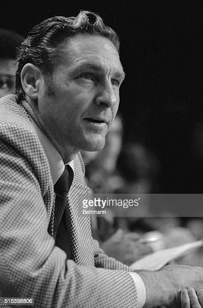 Los Angeles Coach Bill Sharman shows some of his frustration as he watches his players in the closing minutes of the LakersMilwaukee Bucks game The...