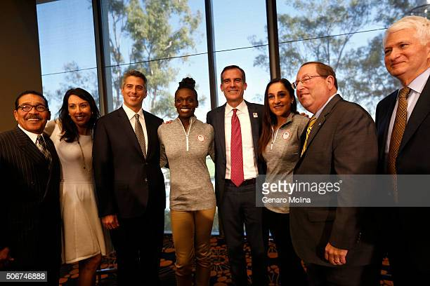 WESTWOOD CA JANUARY 25 2015 Los Angeles Councilman Herb Wesson from left Olympian Janet Evans Los Angeles 2024 Olympic Bid Chairman Casey Wasserman...