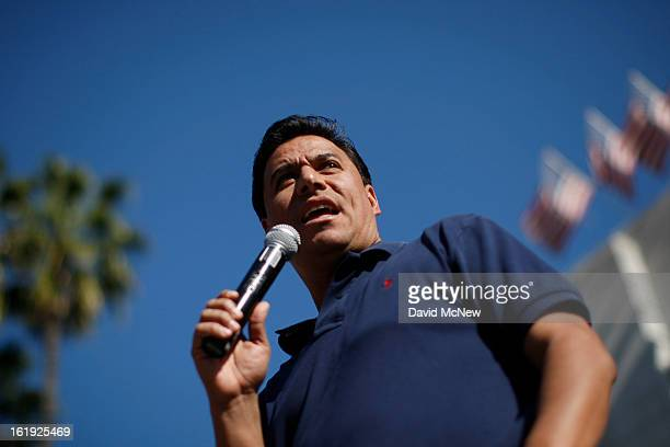 Los Angeles Councilman Jose Huizar speaks on the steps of City Hall during the Forward on Climate rally to call on President Obama to take strong...