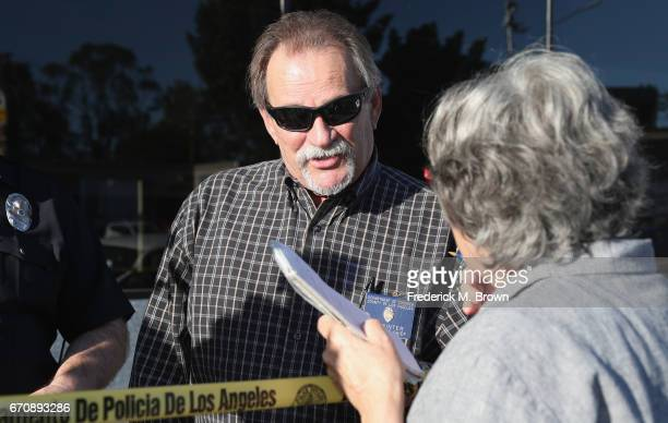 Los Angeles County Assistant Chief Coroner Ed Winter is seen near the site where singer Cuba Gooding Sr was found dead in his car on April 20 2017 in...