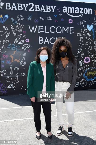Los Angeles County Board of Supervisors Chair Hilda Solis and Kelly Rowland attend Welcome Back With Baby2Baby Presented By Amazon Hosted By Kelly...