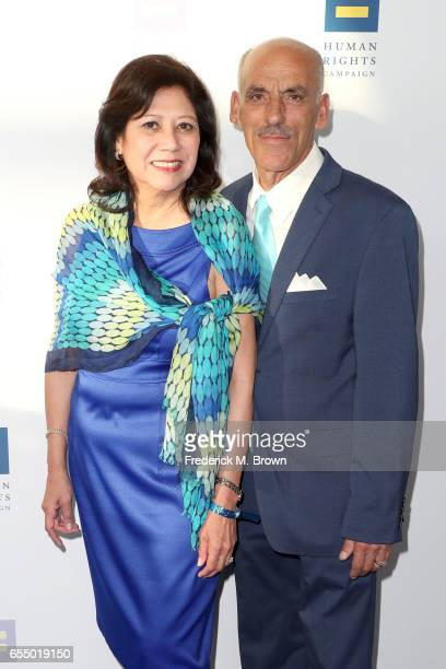 Los Angeles County Board of Supervisors member Hilda Solis and Sam H Sayyad at The Human Rights Campaign 2017 Los Angeles Gala Dinner at JW Marriott...