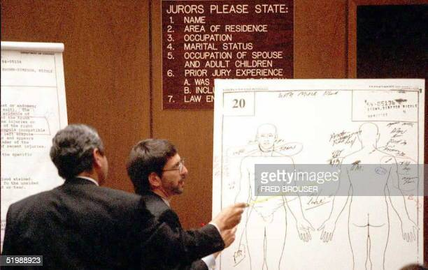 Los Angeles County Coroner Lakshmanan Sathyavagiswaran points to abraison wounds on an autopsy diagram of Nicole Brown Simpson as he is questioned by...