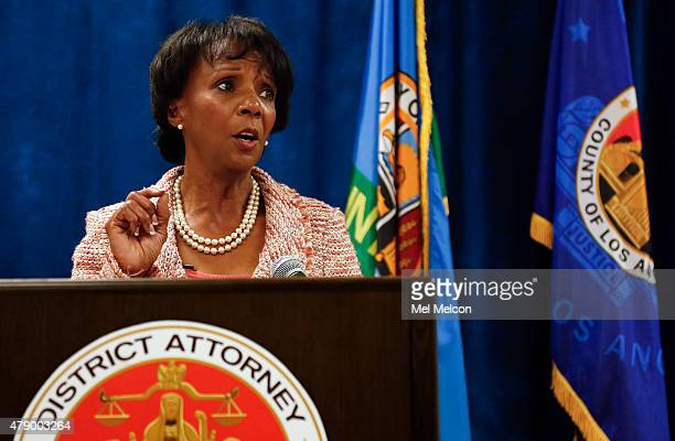 Los Angeles County District Attorney Jackie Lacey announces the creation of the Conviction Review Unit during a press conference at the Hall of...