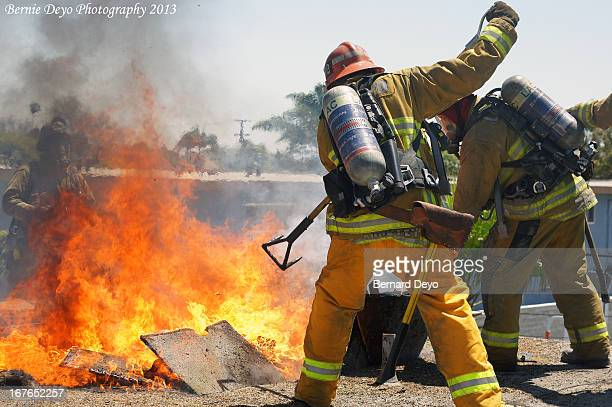 CONTENT] Los Angeles County Fire Fighters conduct live Fire Training and ventilation drills on a vacant apartment building in Inglewood