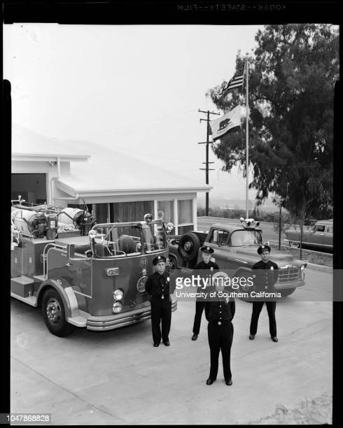 Los Angeles County Fire Station Number 97 in Azusa 4 November 1956 Mrs Donald BorthwickMrs Frank HampCaptain Alan FibsonCaption slip reads...