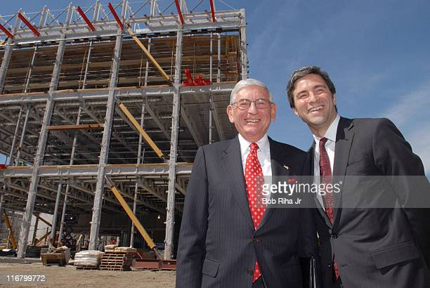 Los Angeles County Museum of Art ceo and director Michael Govan and Eli Broad in front of the new Broad Contemporary Art Museum after British...