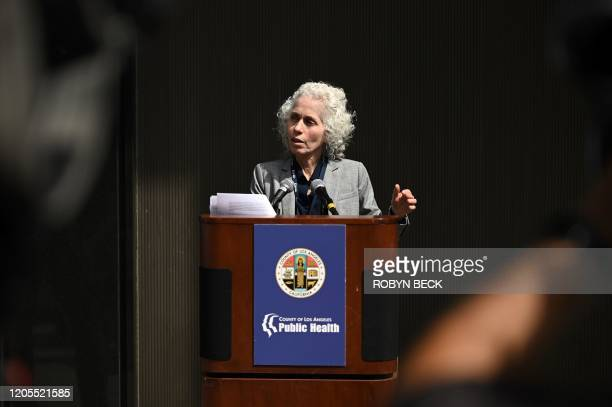Los Angeles County Public Health director Barbara Ferrer speaks at a press conference on the novel COVID19 March 6 2020 in Los Angeles California...