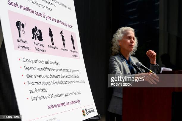 Los Angeles County Public Health director Barbara Ferrer speaks at a press conference on the novel COVID-19 , March 6, 2020 in Los Angeles,...