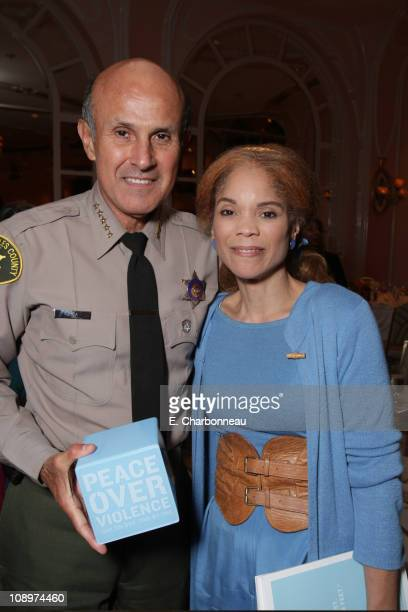 Los Angeles County Sheriff Lee Baca and honoree Constance Rice at the Peace Over Violence Annual Humanitarian Awards Dinner at the Beverly Hills...