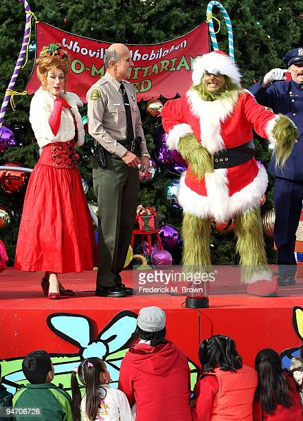 "Los Angeles County Sheriff Lee Baca and Universal Studios characters launch the ""13 Days of Grinchmas"" on December 17, 2009 in Universal City,..."
