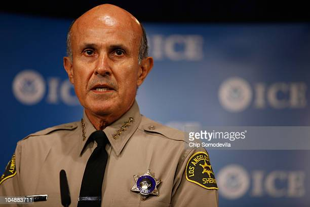 Los Angeles County Sheriff Lee Baca talks about the Department of Homeland Security's Secure Communities program during a news conference at...