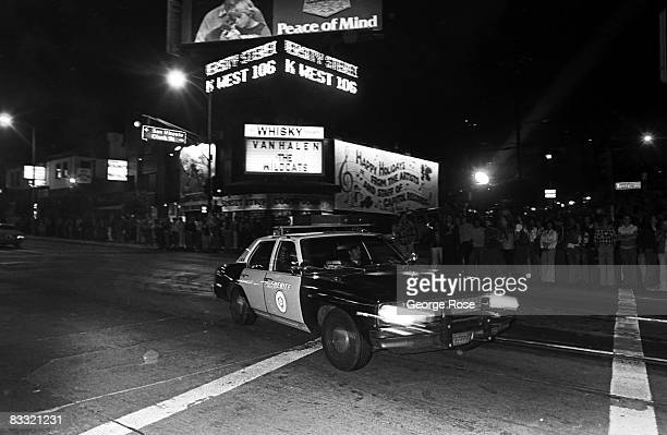 Los Angeles County Sheriff officers work Sunset Blvd on New Year's eve in this 1979 Hollywood California photo