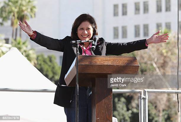 Los Angeles County Supervisor Hilda Solis speaks during the Women's March Los Angeles on January 21 2017 in Los Angeles California