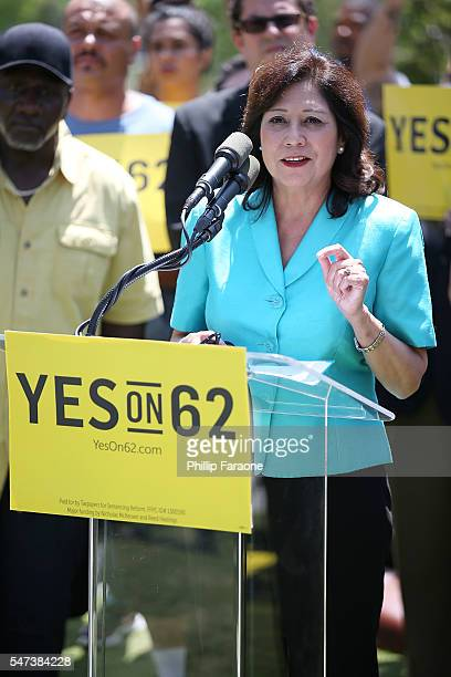 Los Angeles County Supervisor Hilda Solis speaks on stage during the Yes on Prop 62 coalition announcement at Los Angeles Grand Park on July 14 2016...
