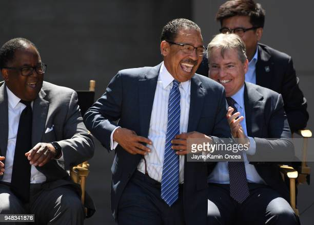 Los Angeles County Supervisor Mark RidleyThomas and lead managing owner of the Los Angeles FC Larry Berg applaud as Los Angeles City Council...