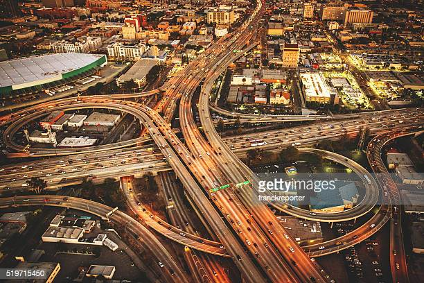 Los Angeles crossway junction aerial view