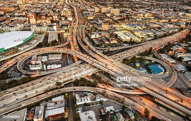 los angeles crossway junction aerial view - highway 405 stock photos and pictures