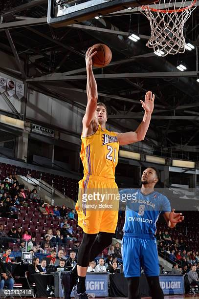Los Angeles DFenders forward Travis Wear goes up for a shot during a game against the Texas Legends as part of 2017 NBA DLeague Showcase at the...