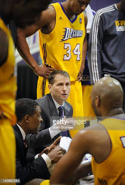 Los Angeles DFenders head coach Eric Musselman talks to his team during a time out against the Iowa Energy during the NBA Development League playoff...