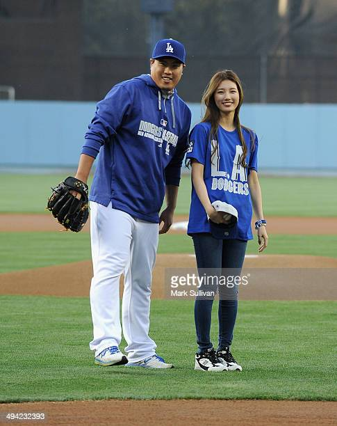 Los Angeles Dodger pitcher HyunJin Ryu and Korean singer/actress Bae Suzy aka SUZY before the game between the Los Angeles Dodgers and Cincinnati...