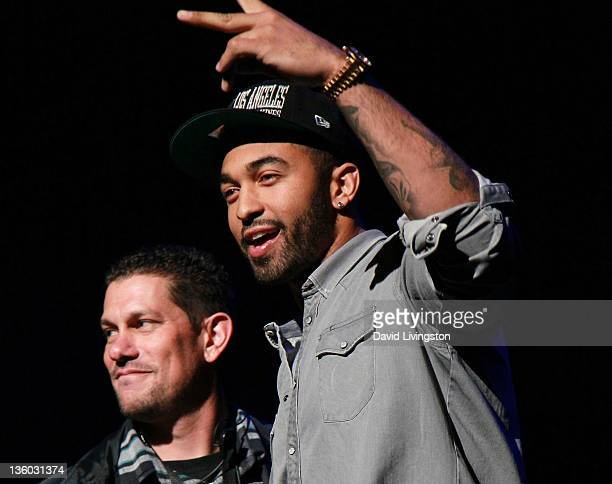 Los Angeles Dodger player Matt Kemp appears on stage during Power 106's Cali Christmas 2011 at Gibson Amphitheatre on December 16, 2011 in Universal...