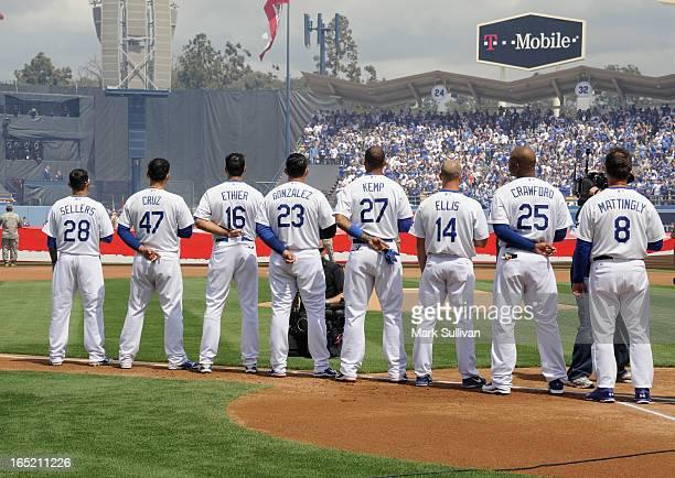 Los Angeles Dodger starting players Justin Sellers Luis Cruz Andre Ethier Adrian Gonzalez Matt Kemp Mark Ellis Carl Crawford and manager Don...