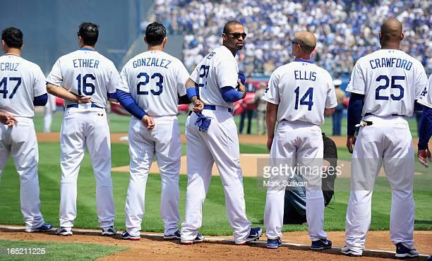 Los Angeles Dodger starting players Luis Cruz Andre Ethier Adrian Gonzalez Matt Kemp Mark Ellis and Carl Crawford opening day at Dodger Stadium on...