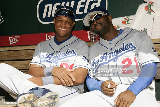 Los Angeles Dodgers Adrian Beltre and teammate Milton Bradley prior to Game 1 vs St.Louis Cardinals at Busch Stadium Tuesday, October 5, 2004 in St....
