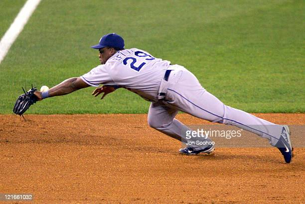 Los Angeles Dodgers' Adrian Beltre can't get to New York Mets Jason Phillips' double in the sixth innning August 27 2004 at Shea Stadium in Flushing...