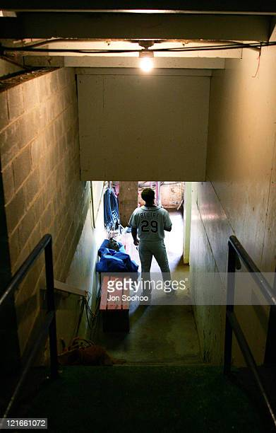 Los Angeles Dodgers Adrian Beltre waits for the start of the game in the tunnel of the dugout at Shea Stadium in Flushing, New York. Beltre went 5...
