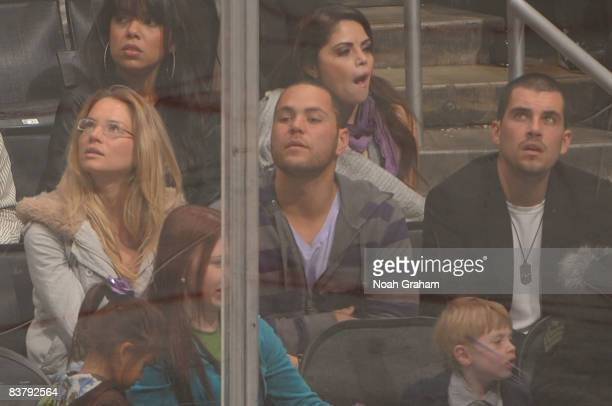Los Angeles Dodgers catcher Russell Martin attends the NHL game between the Colorado Avalanche and the Los Angeles Kings during the game on November...