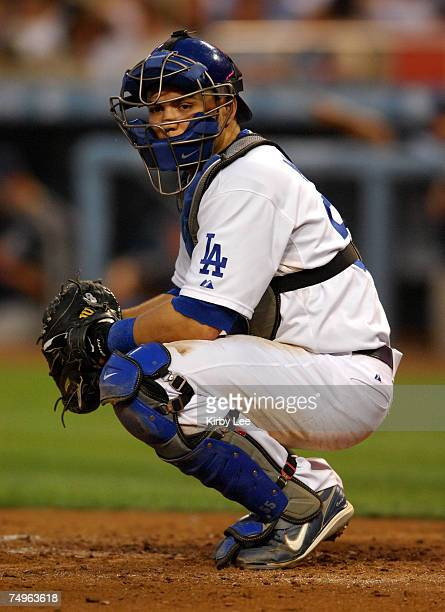 Los Angeles Dodgers catcher Russell Martin during 76 loss to the San Diego Padres in Major League Baseball game at Dodger Stadium in Los Angeles...