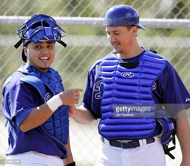Los Angeles Dodgers catchers Dioner Navarro and Paul Bako during the second day of workouts at Dodgertown in Vero BeachFlorida Sunday February 20 2005