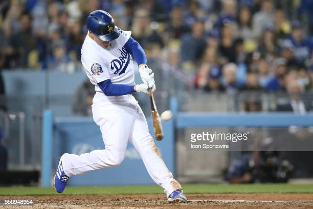 Los Angeles Dodgers center fielder Enrique Hernandez breaks the scoreless tie with a solo homer in the game between the Miami Marlins and Los Angeles...