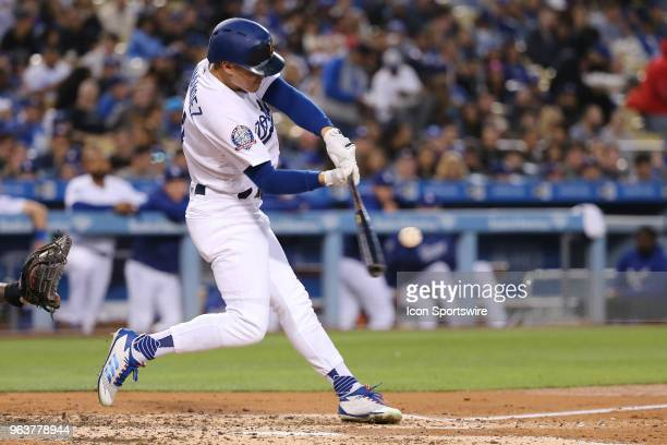 Los Angeles Dodgers center fielder Enrique Hernandez gets a solo homer in the game between the San Diego Padres and the Los Angeles Dodgerson May 25...