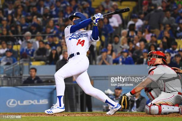 Los Angeles Dodgers center fielder Enrique Hernandez watches his home run during a MLB game between the Philadelphia Phillies and the Los Angeles...