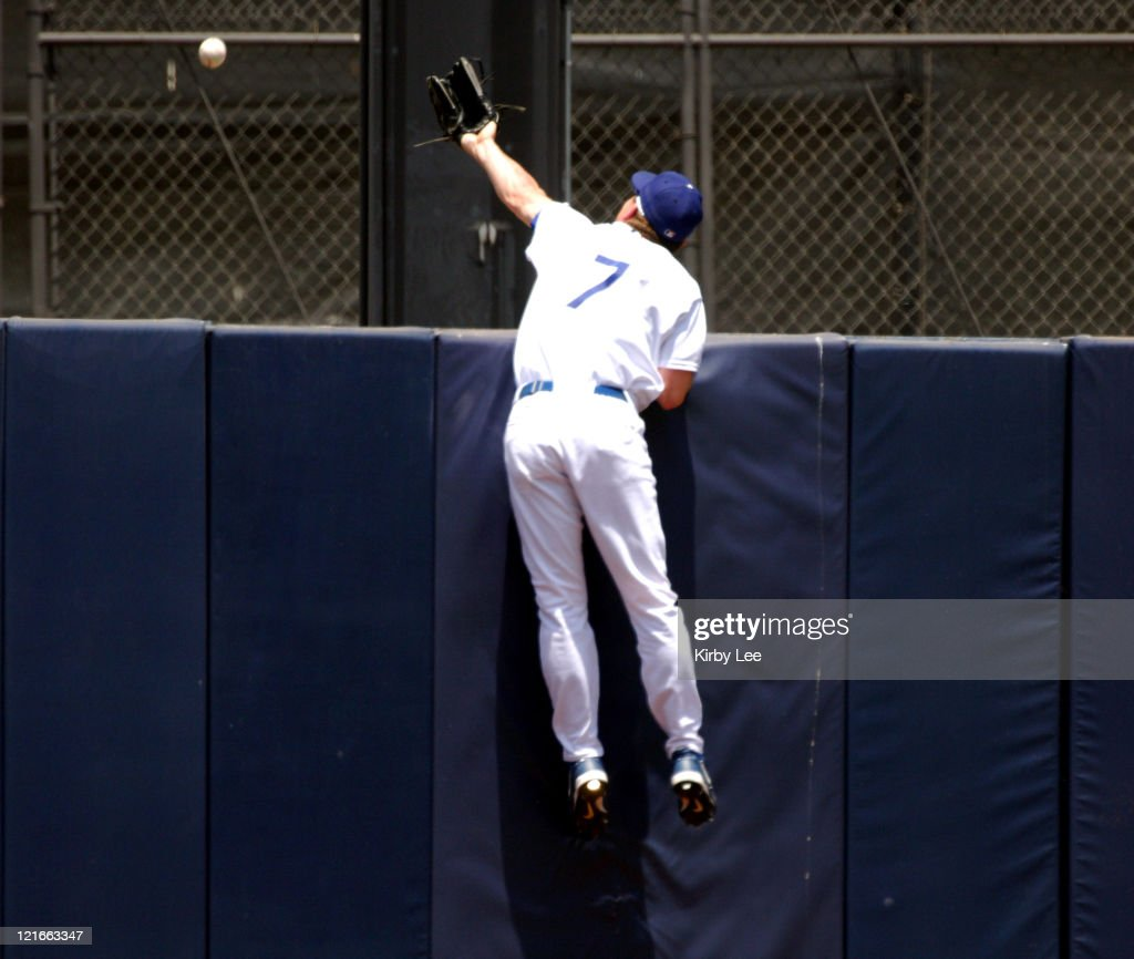 Los Angeles Dodgers center fielder J.D. Drew makes an unsuccesful leaping attempt for a home run by Jose Cruz of the Arizona Diamondbacks in the second inning. Arizona defeated the Dodgers, 7-5, in the game at Dodger Stadium in Los Angeles, Calif. on Saturday, July 2, 2005.