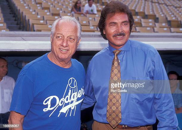 Los Angeles Dodgers coach Tommy Lasorda and singer Engelbert Humperdinck attend the 34th Annual Hollywood Stars Night Celebrity Baseball Game on...